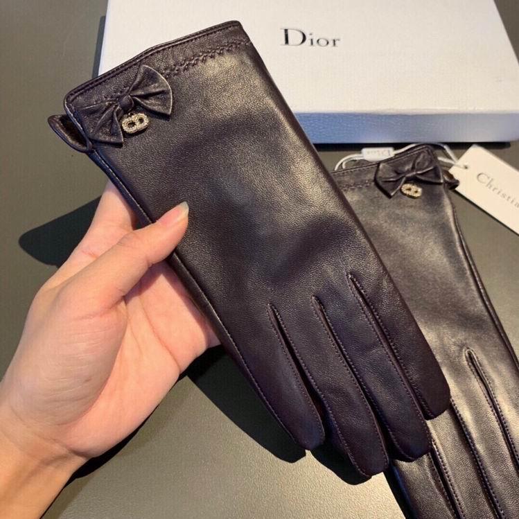 Dior Leather Gloves In Black