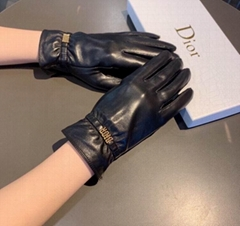 logo Gloves black leather fashion women handwear cheap design gloves