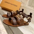 Louis Vuitton womens shoes LV Academy Flat Sandal Calf leather Monogram ankle strap buckle shoes1A677S