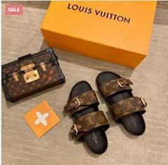 1A3R5O    Mule Bom Dia Flat Mule Monogram Sandals men women shoes