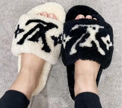 Mink Louis Vuitton Bom Dia Flat Mule Men women fur slide sandal shoes for sale