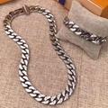 Louis Vuitton LV Chain Links Monogram Necklace M68272 Silver metal Engraved