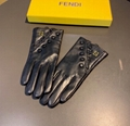 Black embossed leather gloves Fashion