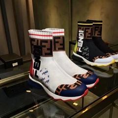 Fendi Mania FF Logo Sock Boots Womens White Multi knit leather boots