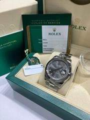 Rolex Datejust 41 Rhodium Diamond Dial 116334 Stainless Steel Box Paper 2017