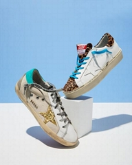 Golden Goose Hi Star Leather & Leopard Platform low top Sneaker Women men sneake