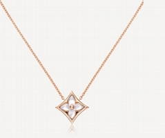 COLOR BLOSSOM STAR PENDANT    PINK GOLD AND WHITE MOTHER OF PEARL