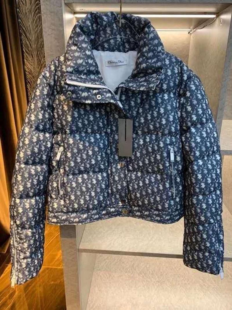 Dior monogram puffer coat Women navy down coats