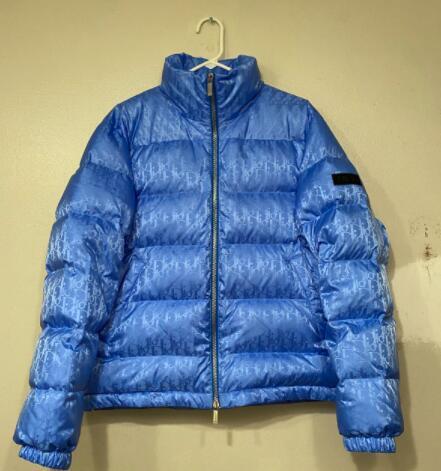 Dior Blue Oblique Monogram Down Puffer Jacket Men