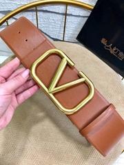 Valentino VLOGO reversible leather belt Vee Ring belt 7 cm big width waist belt