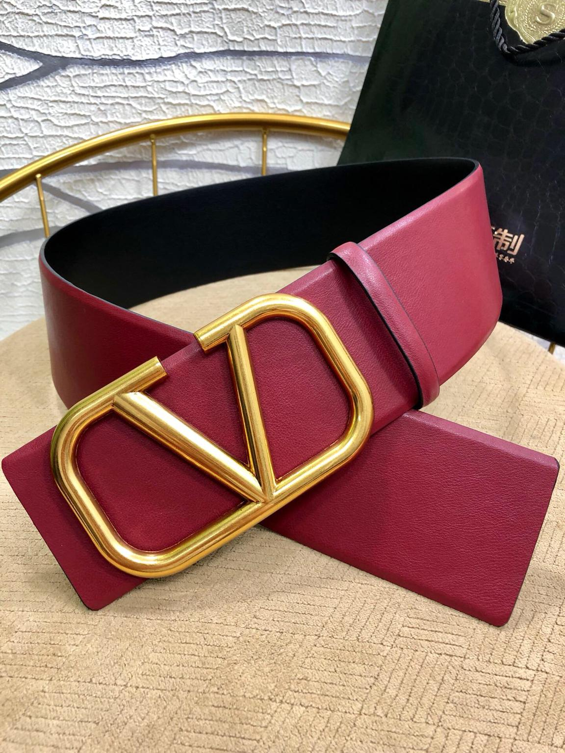 Balenciaga BB leather belt wine