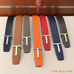 Tom Ford Reversible T Buckle leather belt black Men buckle.belts