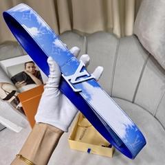 Louis Vuitton LV Shape Reversible Belt Clouds Monogram 40MM Blue LV Clouds Blue