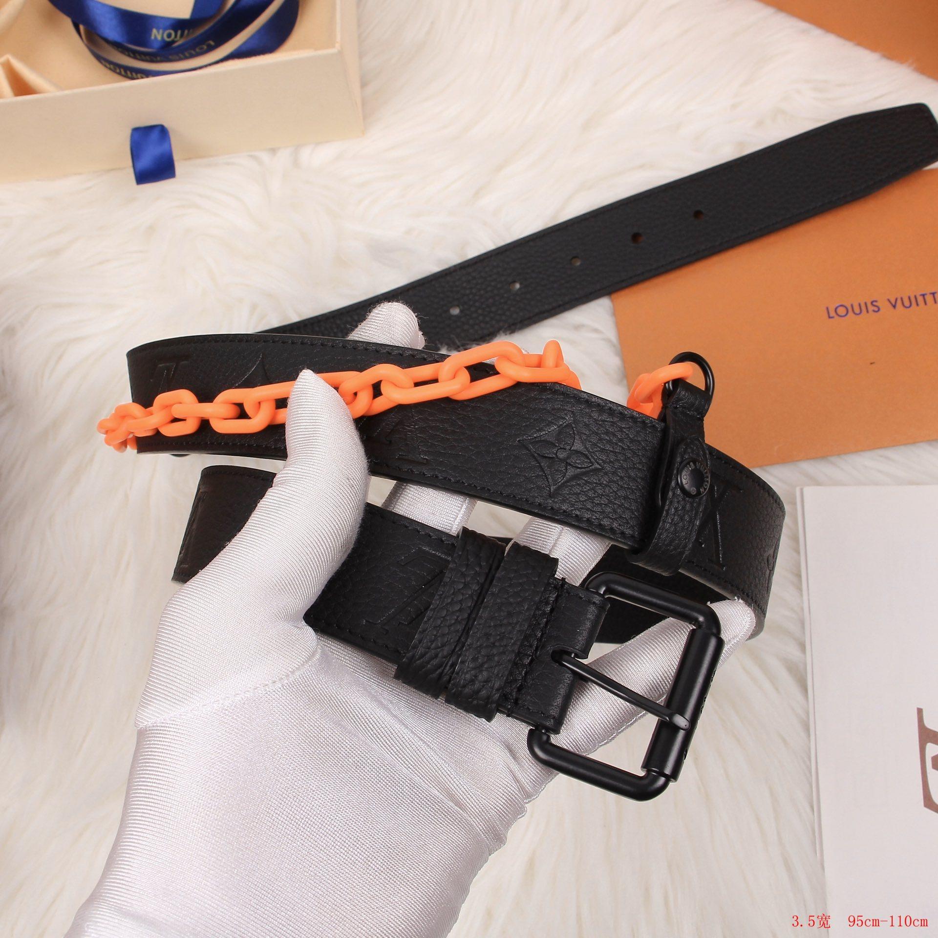 Louis Vuitton Signature Belt Monogram Chains 35MM Absolute Black