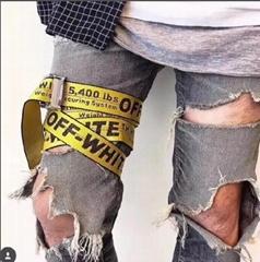 OFF WHITE Yellow Classic Logo Industrial Belt men long Straps belt