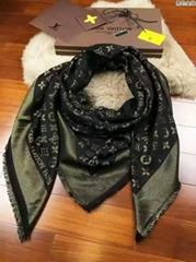 Monogram Shine Shawl Brown    Wool and Silk Shawl