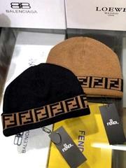 Zucca Pattern Knitted Beanies for Women Black Hat Black Wool cap