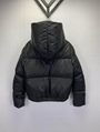 signature motif padded jacket Women Down coat with hood Black  12