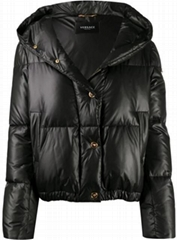 signature motif padded jacket Women Down coat with hood Black  (Hot Product - 1*)