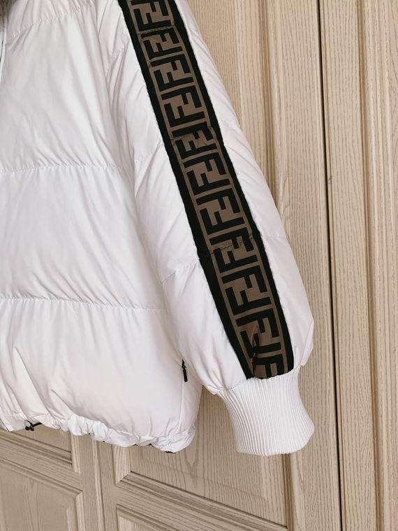 FF-print reversible down filled puffer jacket Women FF logo down coats  13