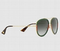Gucci Aviator metal sunglasses Fashion Gold metal with green and red Web frame