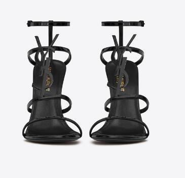 SAINT LAURENT Cassandra 110 patent-leather heeled sandals