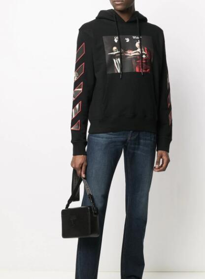 Off-White Caravaggio print cotton hoodie black