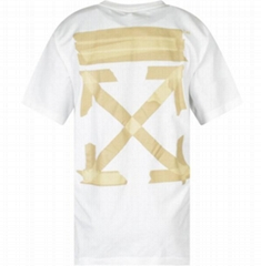 OFF-WHITE White Tape Arrow Print T-Shirt men cheap cotton tee