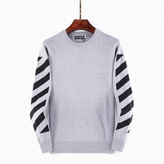 OFF-WHITE SWEATER WITH LOGO Grey crewneck sweater Men cotton knit jumper sweater