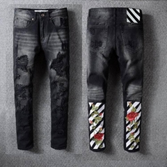 Off White skinny Jeans Cotton Black with Off-White Embroidery jean pants