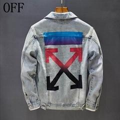OFF-WHITE colorful Arrows Denim Jacket men cotton Logo embossed jackets