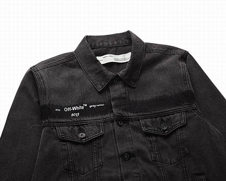 Off-White Slim Denim Jacket with Fleece off white cotton jacket 13