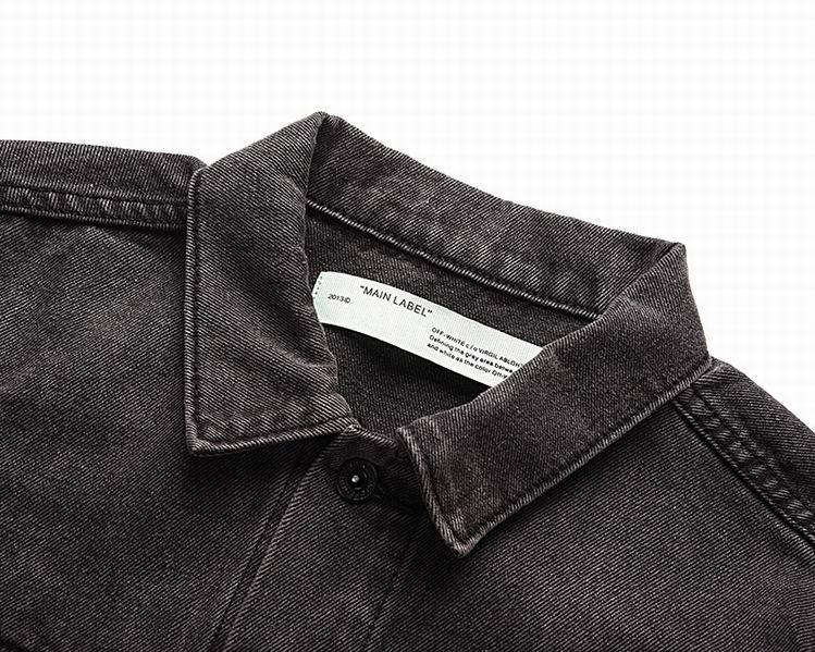 Off-White Slim Denim Jacket with Fleece off white cotton jacket 10