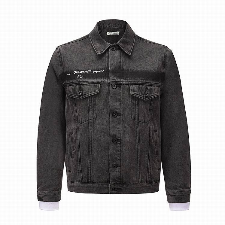 Off-White Slim Denim Jacket with Fleece off white cotton jacket 14