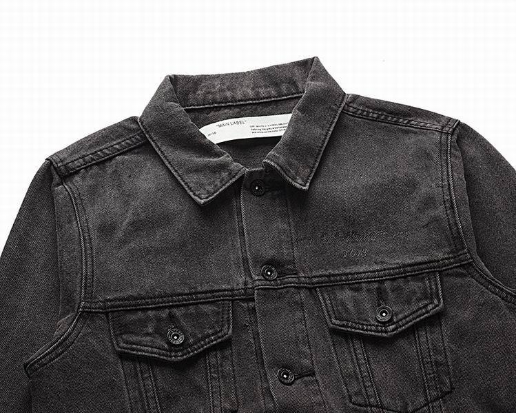 Off-White Slim Denim Jacket with Fleece off white cotton jacket 11