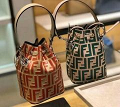 Leather brown logo mon tresor bucket bag       ff logo shoulder Bag