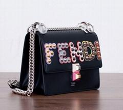 Small Kan I Multi Embellished Bag In Black Leather With Studded handbag