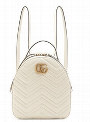 GUCCI GG Marmont matelassé leather backpack white