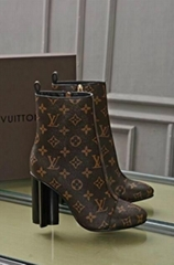 Louis Vuitton Monogram Silhouette Ankle Boots Women LV Slip On high heel boots