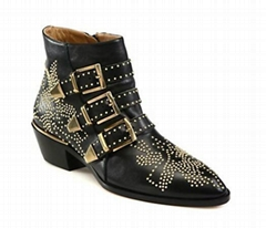 Chloe Suzanna gold studded ankle boots black leather short boots