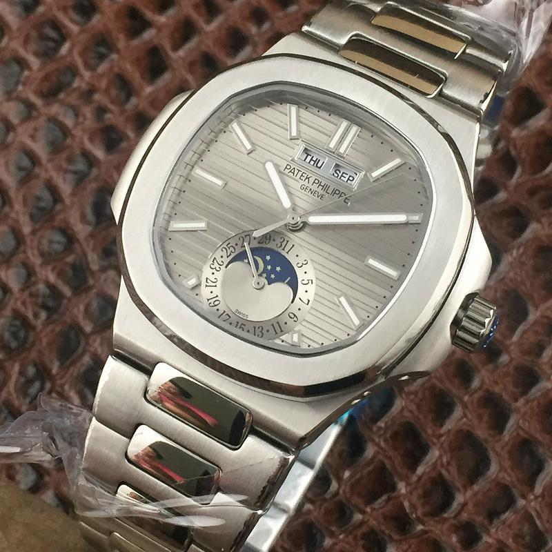 PATEK PHILIPPE Nautilus Moon Phases Si  er Watch BOX & PAPERS 2