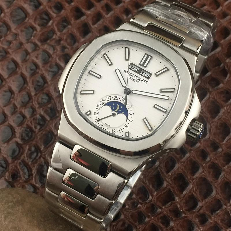 PATEK PHILIPPE Nautilus Moon Phases Si  er Watch BOX & PAPERS 3