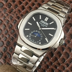 PATEK PHILIPPE Nautilus Moon Phases Si  er Watch BOX & PAPERS