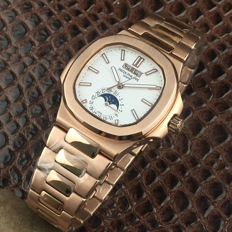 PATEK PHILIPPE Nautilus Moon Phases Si  er Watch BOX & PAPERS 9