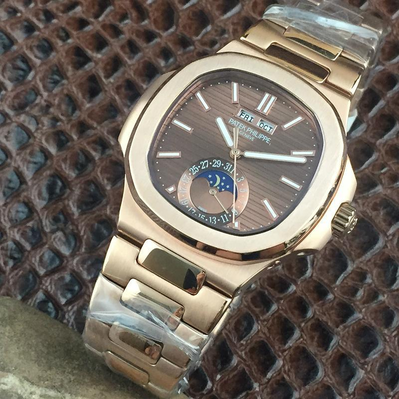 PATEK PHILIPPE Nautilus Moon Phases Si  er Watch BOX & PAPERS 17