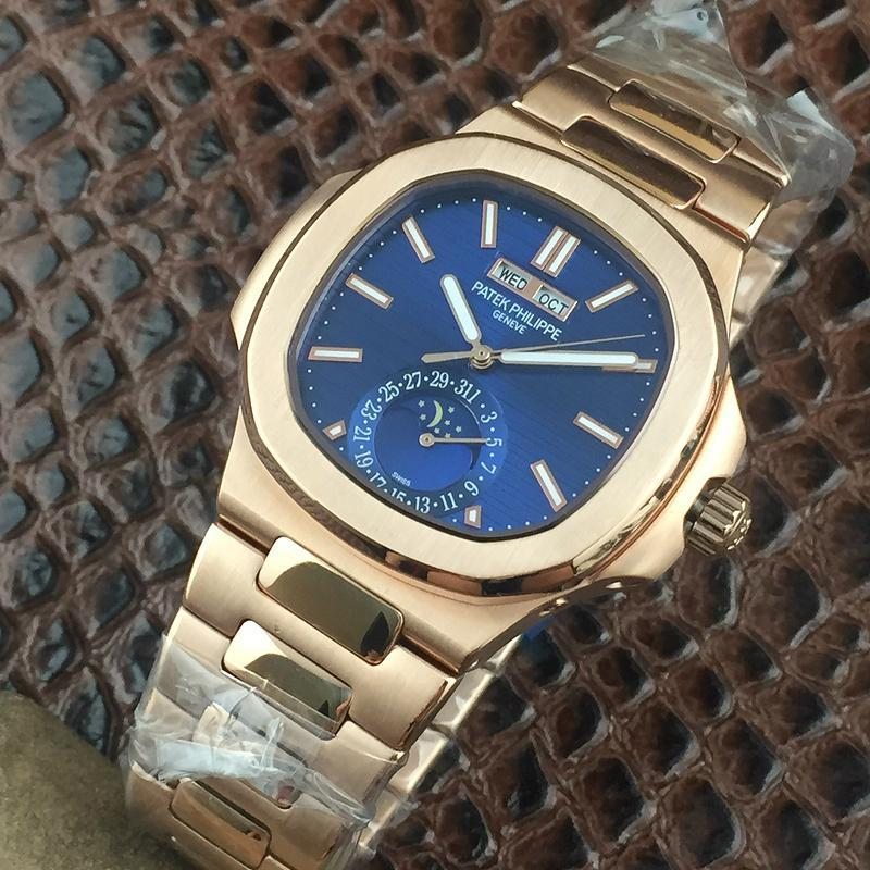 PATEK PHILIPPE Nautilus Moon Phases Si  er Watch BOX & PAPERS 18