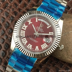 Rolex Datejust Yellow Gold & Steel & Diamond Dial Watch Red