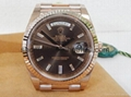 2015 Rolex 18K Rose Gold Day Date 40mm President baguette chocolate 228235