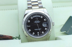 ROLEX PRESIDENT DAY DATE II 18K WHITE GOLD 218239 DIAMOND DIAL BOX & PAPERS 2015