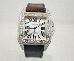 Mens Cartier Santos New 13 Carat Diamond Roman 3 Dial 100Xl Santos 100 XL watch
